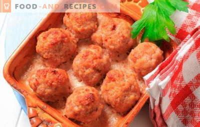 Fleischbällchen im Ofen: Fleisch, Käse, Sahne. Interessante Rezepte für im Ofen gebackene Fleischbällchen