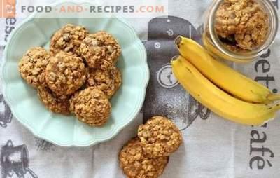 Haferkekse mit Bananen: ein wohlriechender und gesunder Frühstücksdessert. Zubereitungsmöglichkeiten für Haferkekse mit Bananen, Trockenfrüchten, Hüttenkäse, Nüssen und Schokolade