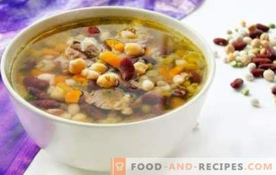 Die leckersten Bohnensuppen - in Gemüse- und Fleischbrühe. Tischdekoration und Lieblingskost - Bohnensuppe