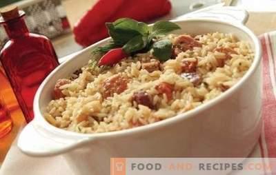 Reis mit Fleisch: Rezepte Schritt für Schritt. Wie man Pilaw in Töpfen, Auflauf oder Braten in chinesischem Reis mit Fleisch kocht (Schritt für Schritt)