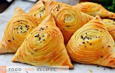 Puff-Samsa - nahrhaft, saftig und unglaublich lecker! Kochen Sie eine echte hausgemachte Blätterteig-Samsa im Ofen