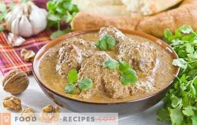 Satsivi-Klassiker - das Highlight der georgischen Küche! Rezepte klassischer Satsivi mit Nüssen und Hühnchen, Truthahn, Aubergine