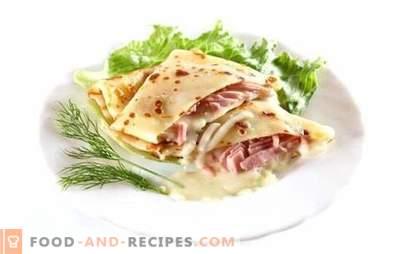 Pfannkuchen mit Schinken und Käse - Yum-Yum! Das Rezept für leckere Pfannkuchen mit Schinken und Käse: gebacken, gefüllt, mit einem Gewürz