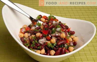 Rezepte für leckere und einfache Salate mit Dosenbohnen und anderen Produkten. Schnell kochen: einfache Salate mit Bohnen