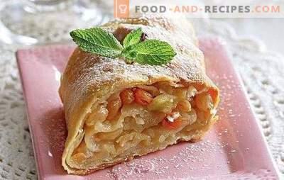 Apfelstrudel: Ein Schritt-für-Schritt-Rezept für ein beliebtes Dessert. Kochstrudel mit Äpfeln, Trockenfrüchten, Beeren und Nüssen mit schrittweisen Rezepten