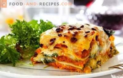 Lasagne mit Käse ist ein anderes Stück, Senora! Rezepte für verschiedene Lasagne mit Käse und Schinken, Champignons, Tomaten, Hühnchen