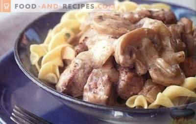 Rindfleisch in Sauerrahm - das zarteste Fleisch in der Sauce. TOP 6 der besten Rezepte für Rinderrahmsauce: Stroganoff, Koteletts, Steaks