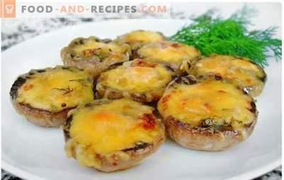 Im Ofen gebackene Pilze mit Käse - ein Gericht mit einem milden cremigen Geschmack. Bewährte Rezepte von im Ofen gebackenen Pilzen mit Käse