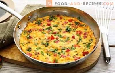 Omelett mit Schinken - ein herzhaftes, schmackhaftes Frühstück in Eile. Die besten Rezepte für Omelette mit Schinken, Käse, Gemüse, Gewürzen