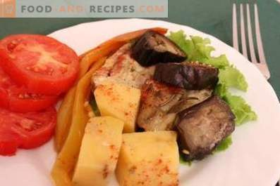 Chicken with eggplants and potatoes