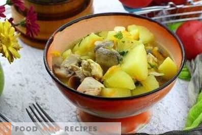 Kartoffeln mit Pilzen und Hähnchen