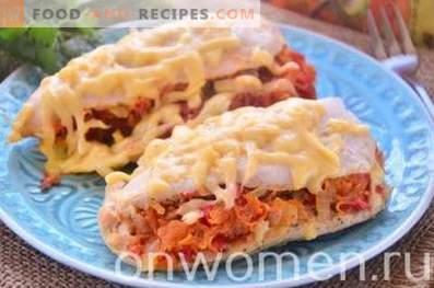 Hähnchenfilet mit Gemüse im Ofen gebacken