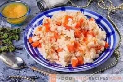 Reisbrei mit Kürbis auf Milch in einem langsamen Kocher