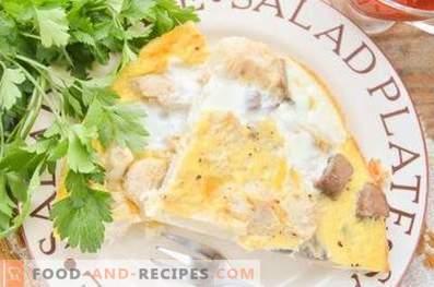 Omelett mit Blumenkohl und Pilzen im Ofen