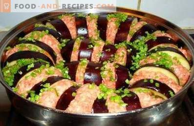 Auberginen mit Hackfleisch im Ofen gebacken