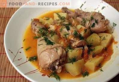 Hähnchenkeulen mit Kartoffeln geschmort