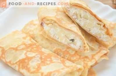 Pfannkuchen mit Hüttenkäse und Äpfeln
