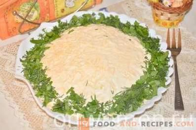 Schichtsalat mit Sprotten und Käse