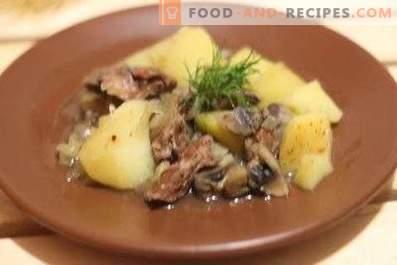 Hühnerleber mit Kartoffeln und Champignons in einem langsamen Kocher