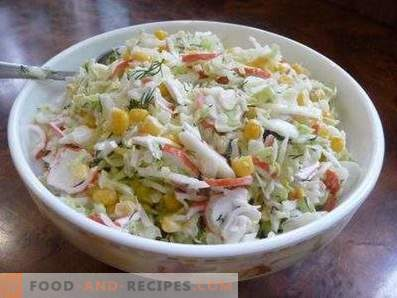 Salads with cabbage and crab sticks
