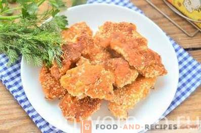 Hühnerstäbchen aus Sesam