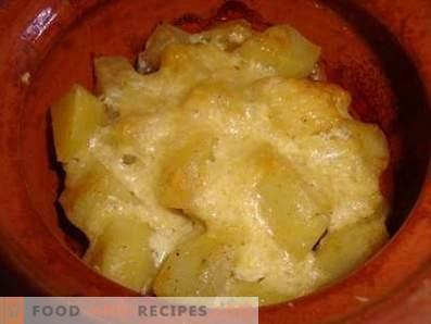 Fleisch mit Kartoffeln und Pilztöpfen im Ofen