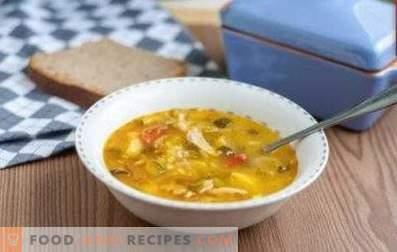 Rassolnik mit Hühnchen und Reis