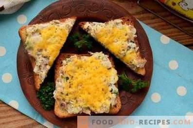 Sandwiches mit Saury im Ofen
