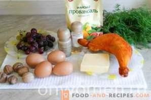 Tiffany-Salat mit Hühnchen und Trauben