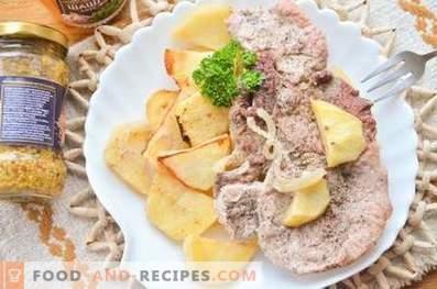 Schweinefleisch auf Kartoffelkissen im Ofen