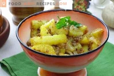 Mit Hackfleisch gebratene Kartoffeln