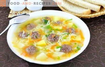 Suppe mit Fleischbällchen und Nudeln - ein leckeres Mittagessen ist einfach! Die besten Rezepte für Suppen mit Fleischbällchen und Nudeln