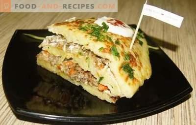 Kartoffelkuchen mit Fleisch - ein Verwandter gewöhnlicher Pfannkuchen! Rezept mit Fotos, Schritt für Schritt Beschreibung: Kartoffeln mit Fleisch - Original!