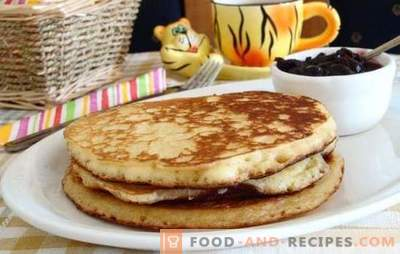 Pfannkuchen auf saurer Sahne: Puffreis, Vanillepudding, süß, Hirse, Grieß, Seide. Viele Rezepte für Pfannkuchen saure Sahne
