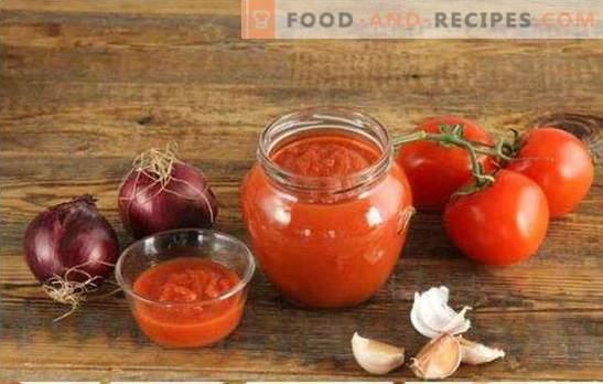 Für den Winter gehackte Tomaten sind die beste Methode, um die gesamte Ernte zu verarbeiten. Die besten Rezepte von Tomaten durch den Fleischwolf für den Winter