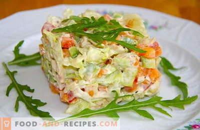 Gekochte Hühnersalate sind die besten Rezepte. Wie man richtig und lecker gekochten Salat mit gekochtem Hühnerfleisch macht