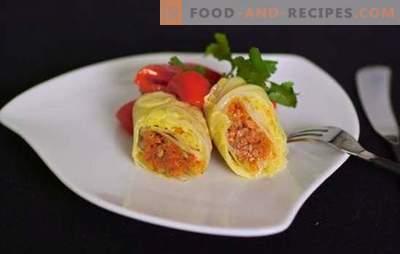 Mit Gemüse gefüllter Kohl ist eine magere Version eines Lieblingsgerichts. Rezepte und Geheimnisse zum Kochen von Gemüsekohlrouladen mit Kürbis, Rüben, Champignons, gegrillt