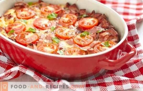 Auflauf mit Tomaten - heller Sommer auf dem Tisch. Welche Gemüse und Saucen werden für Aufläufe mit Tomaten verwendet