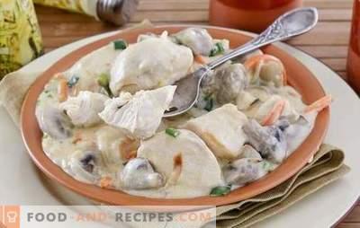 Hähnchenfilet mit Champignons - eine starke Kombination! Rezepte verschiedener Gerichte aus Hühnerfilet mit Champignons