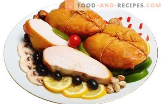 Geräucherte Brust: aromatisches diätetisches Fleisch. Die besten Rezepte für hausgemachte geräucherte Brust. Was kannst du damit kochen?