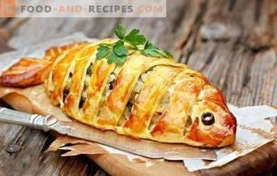 Schneller Fischkuchen - ein Fundstück für vielbeschäftigte Hausfrauen! Schnelle Fischpasteten auf Kefir, Mayonnaise, Sauerrahm, Blätterteig