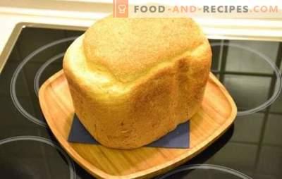 Weißbrot in einer Brotbackmaschine - klassisch und mit verschiedenen Zusätzen. Weißbrot mit Rosinen, Honig, Karotten, Knoblauch - Rezepte für Brotmacher