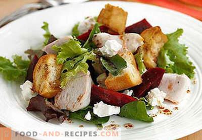 Geräucherte Hähnchenbrustsalate - die ersten fünf Rezepte. Wie man richtig und köstlich Salate aus geräucherten Hähnchenbrust zubereitet.