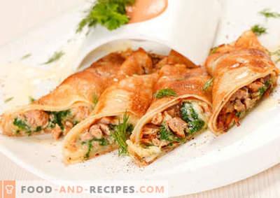 Pfannkuchen mit Hühnchen - die besten Rezepte. Wie man richtig und lecker Pfannkuchen mit Hühnchen kocht.