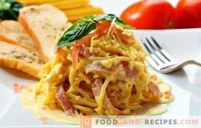 Spaghetti mit Schinken - einfache und komplexe Rezepte, Klassiker und Soße. Und auch eine ungewöhnliche Pastapizza aus Spaghetti mit Schinken