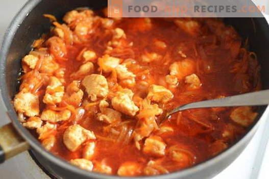 Hühnergulasch - die besten Rezepte. Wie man richtig und schmackhaftes Gulasch aus Hühnchen kocht.