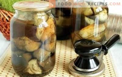 Auberginen, gesalzen in Gläsern - gefüllt mit Gemüse. Eingelegte Gurken mit Auberginen, gesalzen in Gläsern
