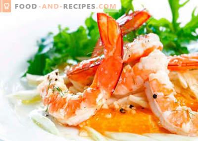Salat mit Garnelen und Käse - die besten Rezepte. Wie man richtig und lecker einen Salat mit Garnelen und Käse zubereitet.