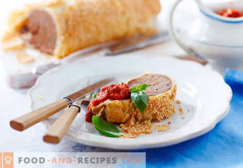 Fleischstrudel - die besten Rezepte. Wie man richtig und lecker einen Strudel mit Fleisch zubereitet.