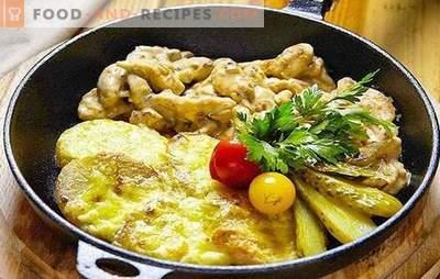 Schweinefleisch Frikassee - einfach, einfach, befriedigend! Rezepte Schweinefleisch Frikassee mit Gemüse, Champignons, Bohnen, Sahne